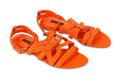 Lot 18-Louis Vuitton Orange Leather Sandals - size 37