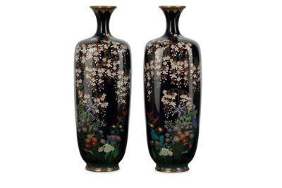 Lot 25-A PAIR OF CLOISONNÉ VASES. Meiji period. Of a...