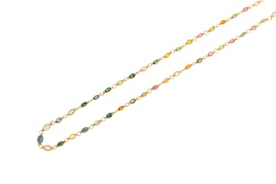 Lot 38-A gem-set necklace The articulated line of...