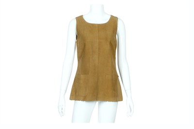 Lot 15-Chanel Tan Suede Top - size 40