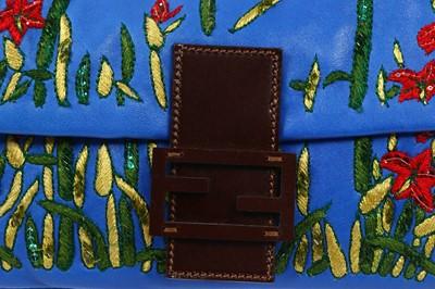 Lot 297 - Fendi Blue Floral Jacquard Baguette Bag
