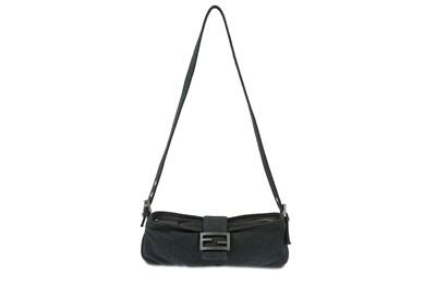 Lot 447 - Fendi Charcoal Grey Jersey Fabric Baguette Bag