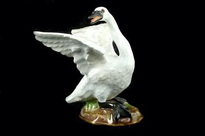 Lot 87-A Meissen porcelain figure of a swan, after...