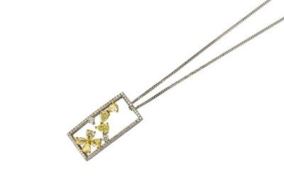 Lot 21-A diamond pendant necklace Designed as a...