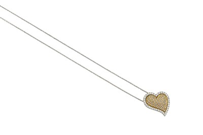 Lot 22-A diamond-set heart-shaped pendant necklace The...