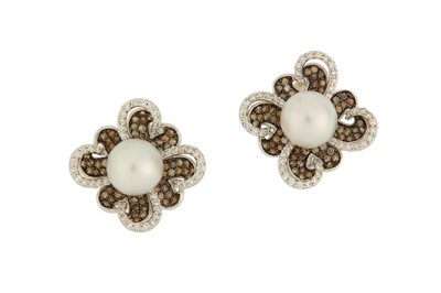 Lot 16-A pair of cultured pearl and diamond earrings...
