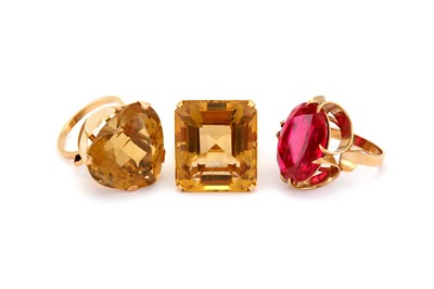 Lot 34-Three gem-set rings, comprising two citrine...