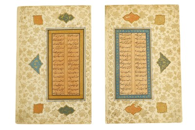 Lot 36-TWO MURAQQA' FOLIOS OF POETRY