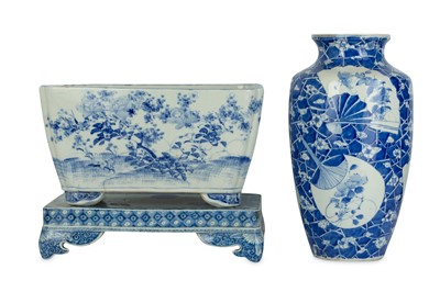 Lot 27-A SETO WARE PORCELAIN JARDINIERE AND A VASE....