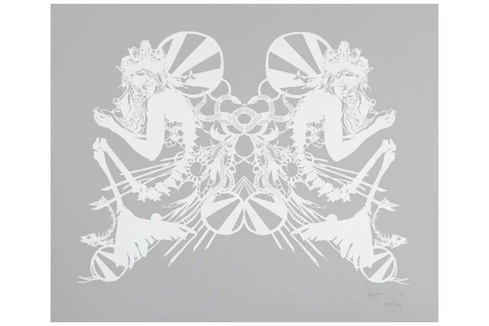 Lot 48-Swoon (American b.1977), 'Miss Rockaway (White on Mylar)'