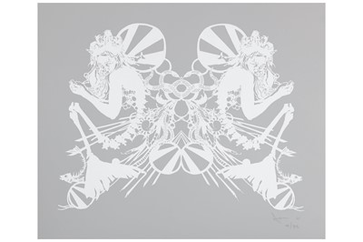 Lot 48-Swoon (American b.1977), 'Miss Rockaway (White on Mylar)'