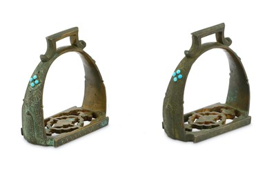 Lot 69 - A PAIR OF TURQUOISE-ENCRUSTED BRONZE STIRRUPS