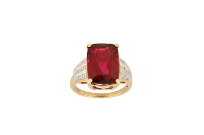 Lot 33-A red tourmaline and diamond ring A rectangular...
