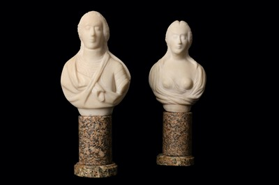 Lot 29-A PAIR OF SMALL WHITE MARBLE BUSTS OF A LADY AND...