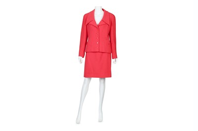 Lot 48-Chanel Boutique Pink Boucle Skirt Suit - size 40