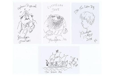 Lot 314-Ryan (John) Four original pen sketches of...