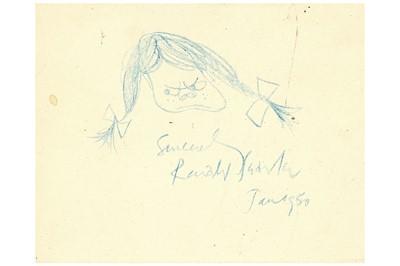 Lot 317-Searle (Ronald) Original blue crayon sketch of an ...
