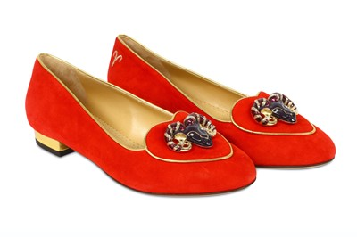 Lot 89-Charlotte Olympia Zodiac Red Suede Smoking Slippers - size 37