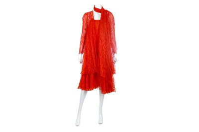 Lot 29-Christian Dior Boutique Red Silk Chiffon Ensemble