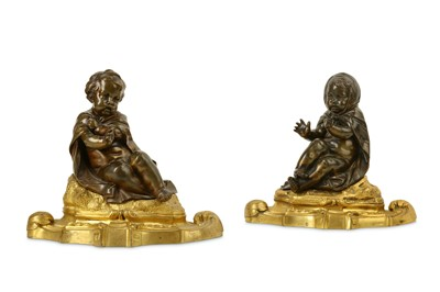 Lot 48-A PAIR OF LATE 18TH / EARLY 19TH CENTURY FRENCH BRONZE ALLEGORICAL FIGURES OF PUTTI REPRESENTING WINTER IN THE MANNER OF JEAN-BAPTISTE PIGALLE (FRENCH, 1714-85)