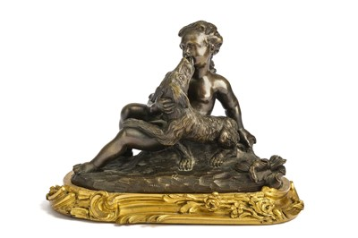 Lot 47-A MID 18TH CENTURY FRENCH BRONZE FIGURE OF A GIRL WITH A DOG