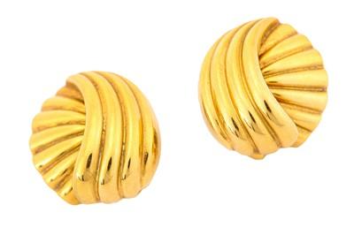 Lot 1-A pair of earrings, by Asprey, each reeded...