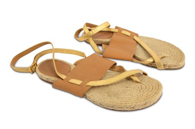 Lot 94-Hermes Tan and Gold Espadrille Flat Sandals - Size 37