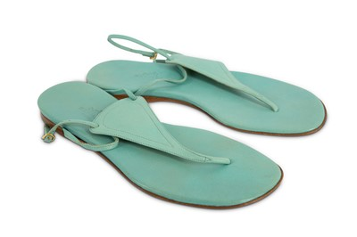 Lot 92-Hermes Blue Leather Thong Sandals - Size 36.5