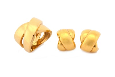 Lot 22-An 18 carat gold ring and pair of earrings, each...