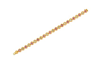 Lot 29-A diamond and pink sapphire line bracelet The...