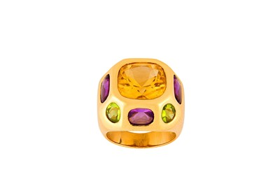 Lot 11-A multi gemstone dress ring Of bombé deign, set...
