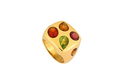 Lot 39-A multi-gem dress ring The square plaque, inset...