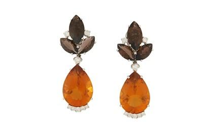 Lot 19-A pair of gem-set pendent earrings Each...