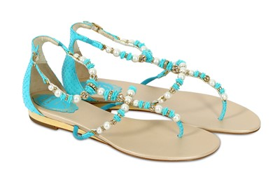 Lot 92a-Rene Caovilla Turquoise Pearl Val Flat Sandal - size 38