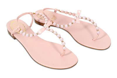 Lot 88-Rene Caovilla Pale Pink Pearl Crystal Trick Sandals - size 37.5