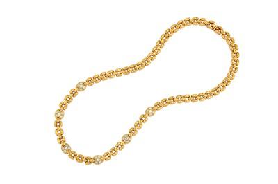 Lot 35-A diamond-set necklace Of openwork brick-link...
