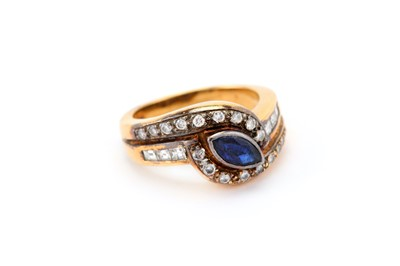 Lot 30-A sapphire and diamond dress ring, the collet-set ...