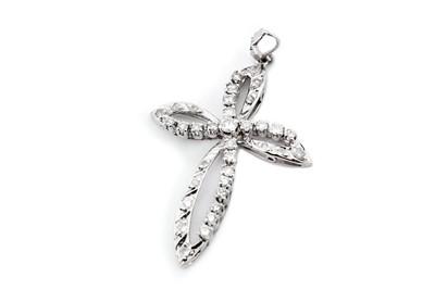 Lot 21-A diamond cross pendant, of openwork design set...