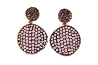 Lot 3-A pair of pink sapphire earrings