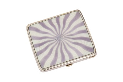 Lot 207-An early 20th century German 900 standard silver and guilloche enamel cigarette case, probably Pforzheim circa 1920