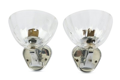 Lot 31-MURANO: A pair of Murano glass cup wall lights,...