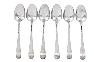 Lot 345 - A set of six George III sterling silver tablespoons, London 1775 by Hester Bateman