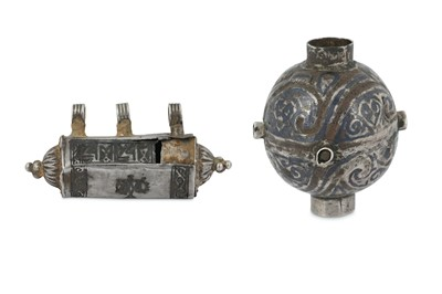Lot 80 - A NIELLOED SILVER NECKLACE BEAD AND A CYLINDRICAL AMULET