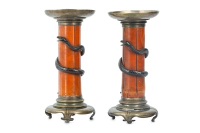 Lot 22-A PAIR OF CANDLE HOLDERS. 19th Century. The...