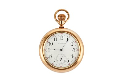 Lot 45-WALTHAM. A GOLD PLATED FULL HUNTER POCKET WATCH...