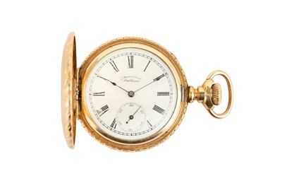 Lot 44-WALTHAM. A GOLD PLATED FULL HUNTER POCKET WATCH...