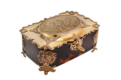 Lot 211-A Victorian sterling silver-gilt mounted tortoiseshell dressing table casket, London 1899 by George Fox