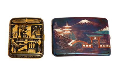Lot 375 - A mid-20th Japanese silver and inlaid metal cigarette case, circa 1950