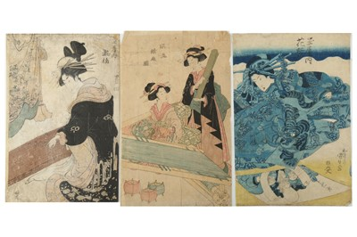 Lot 644 - A COLLECTION OF JAPANESE WOODBLOCK PRINTS BY TOYOKUNI, SHUNKO, SHUNCHO, KUNISADA AND OTHERS.