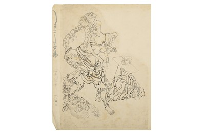 Lot 671 - STYLE OF HOKUSAI AND OTHERS.